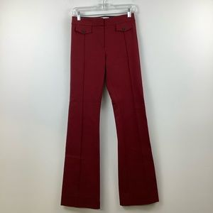 Derek Lam 10 Crosby Flare Trouser With Seam & Pocket Flap Detail in Red